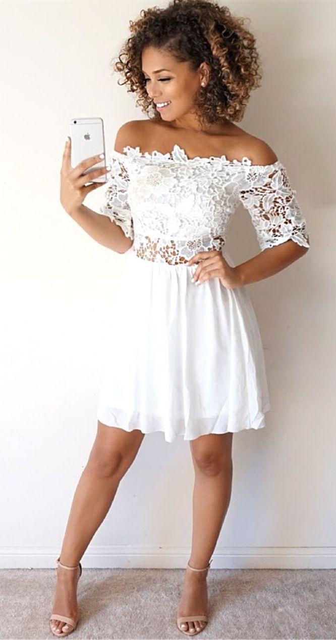 white homecoming dresslace short prom dressesoff the shoulder