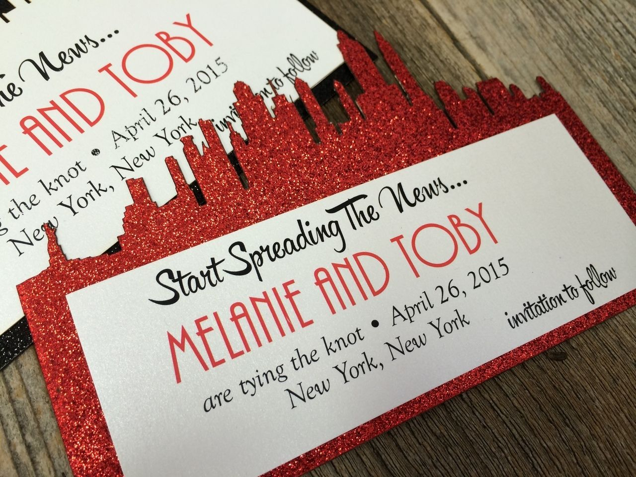 Glitter Skyline Invitation | Wedding
