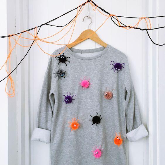 Disfraz sudadera arañas 20 ideas creativas para celebrar Halloween - ideas creativas y manualidades