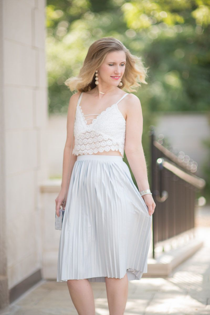 9a682262d28b Petite Fashion and Style Blog | Misguided Circle Lace Crop Top | Topshop  Pleated Midi Skirt | Milly Acrylic & Glitter Box Clutch