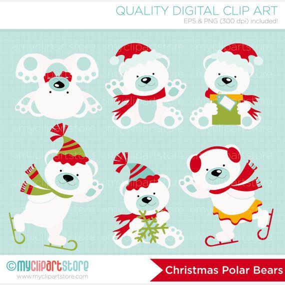 polar bears clipart christmas bears north pole winter. Black Bedroom Furniture Sets. Home Design Ideas