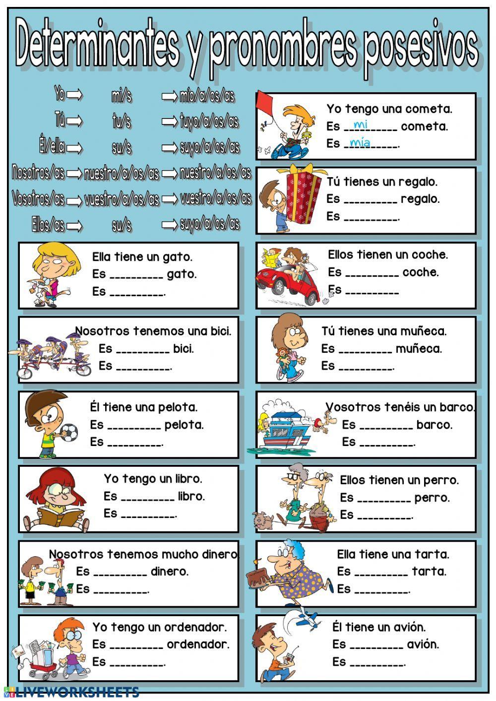 Determinantes Y Pronombres Posesivos Interactive Worksheet Posesivos En Ingles Pronombre Posesivo Adjetivo Posesivo