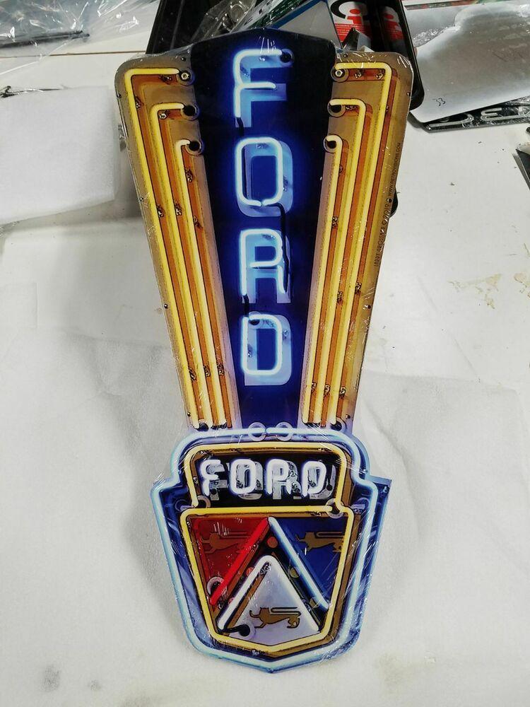 24 Neon Style Sign In Steel Ford Jubilee Mustang Truck Garage