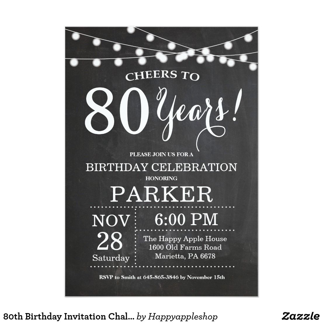 80th Wedding Anniversary Gift: 80th Birthday Invitation Chalkboard