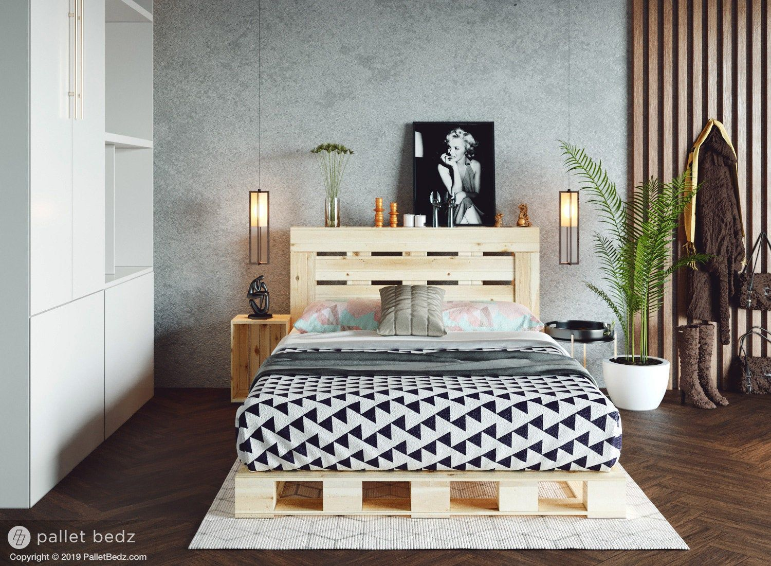 Pallet Bed The Full Size Includes Headboard and