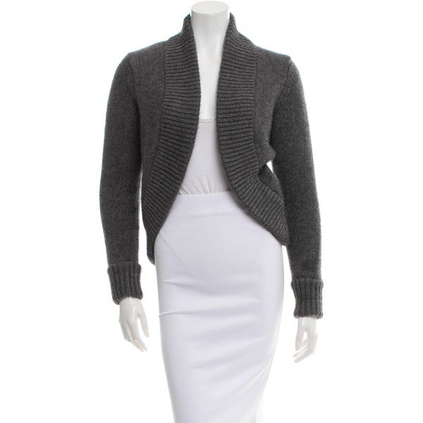 Pre-owned Michael Kors Cashmere Rib Knit-Trimmed Cardigan (€130) ❤ liked on Polyvore featuring tops, cardigans, grey, grey cashmere cardigan, gray top, gray cashmere cardigan, cardigan top and long sleeve cardigan