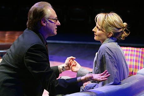 Brent Spiner and Helen Hunt in a scene from Life x 3. Broadway production, 2003. photo by Joan Marcus