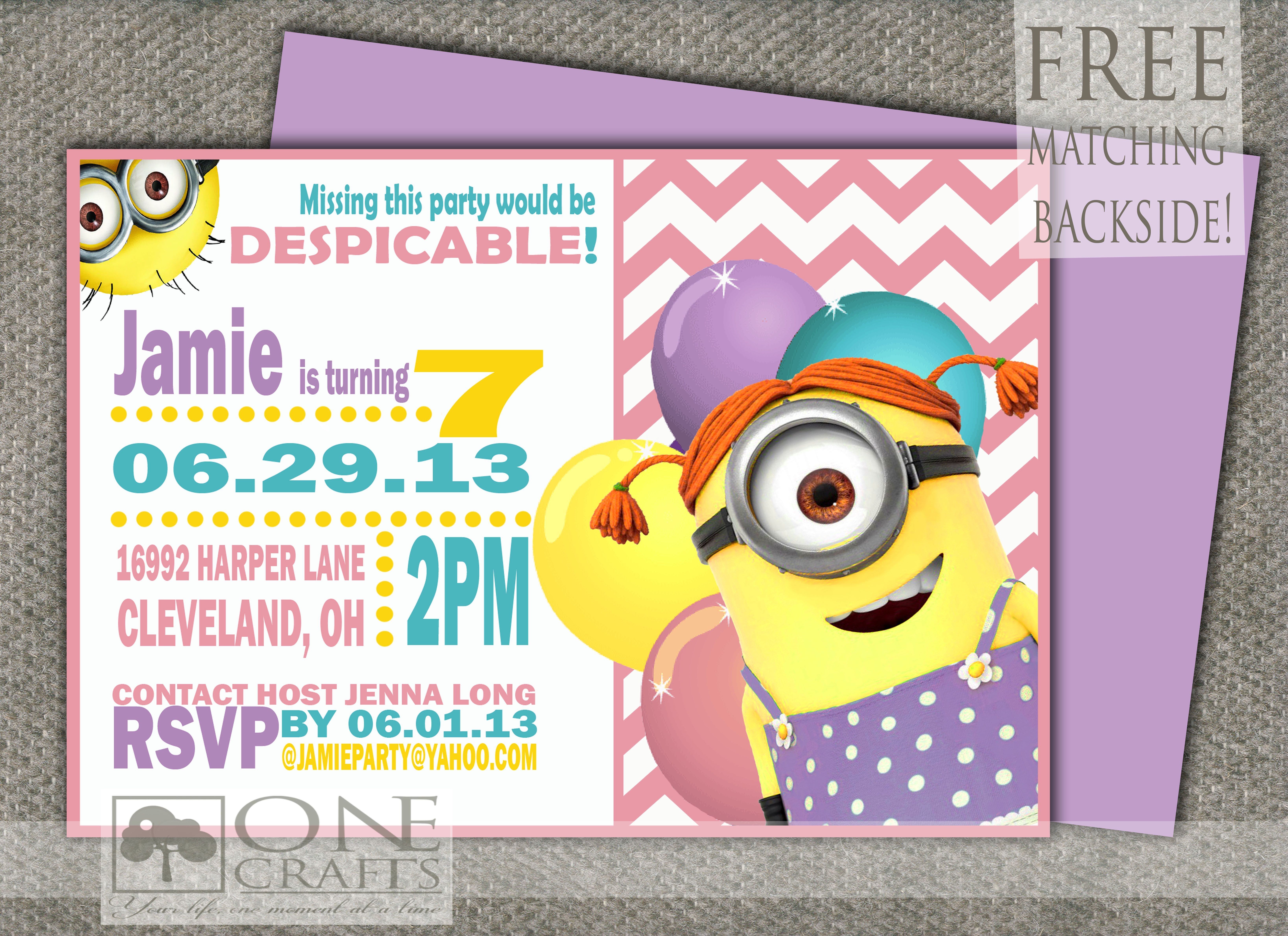 Girl Minion Invitation Printable 900 httpswwwetsycomshop