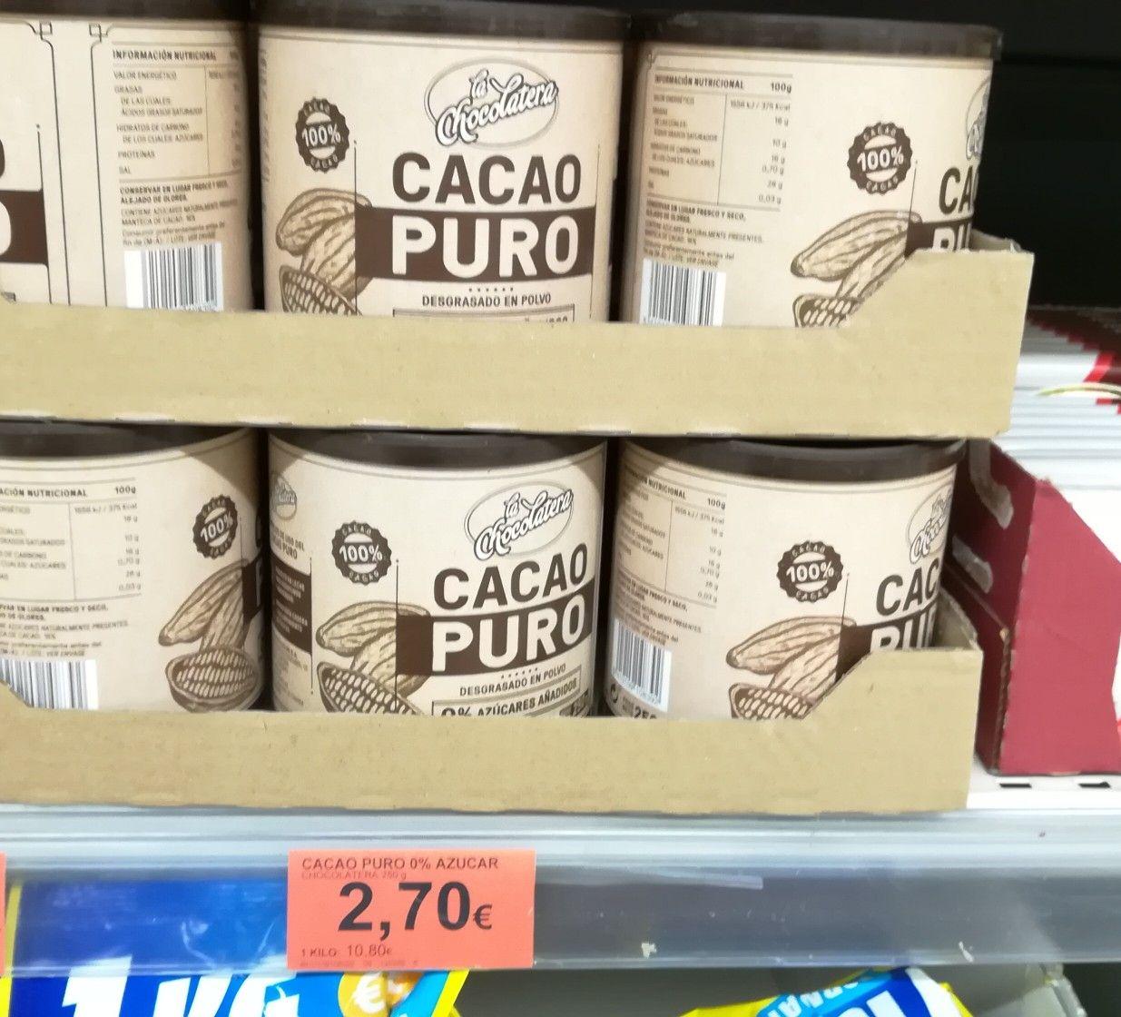 Cacao Puro Mercadona Azucar