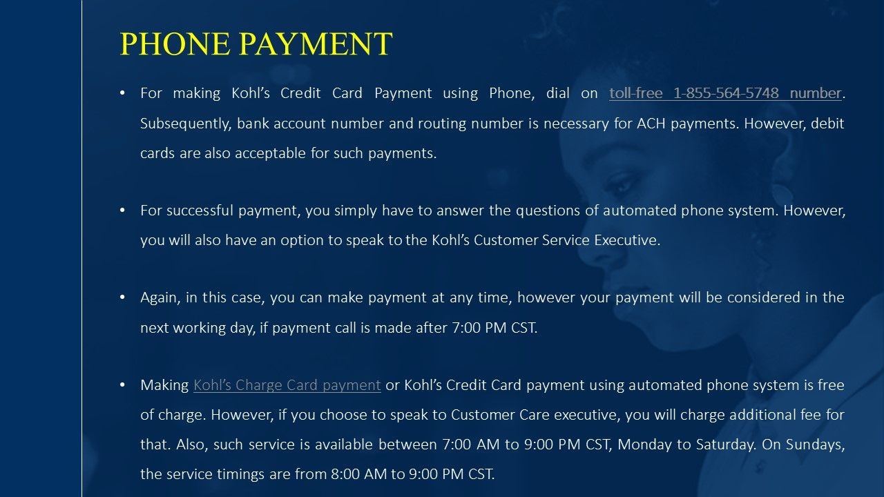 Kohls Credit Card Payment By Phone Credit Card Credit Card Payment Debit Card