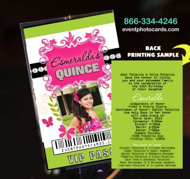 pink green quinceanera vip pass backstage invitations