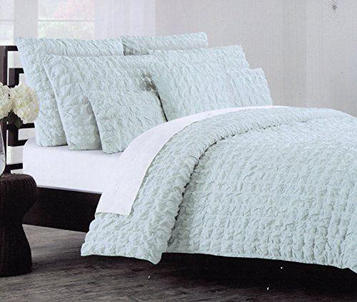 Nicole Miller Home 3pc Full Queen Squares Seerer 100 Cotton Duvet Cover Set Dusty Blue