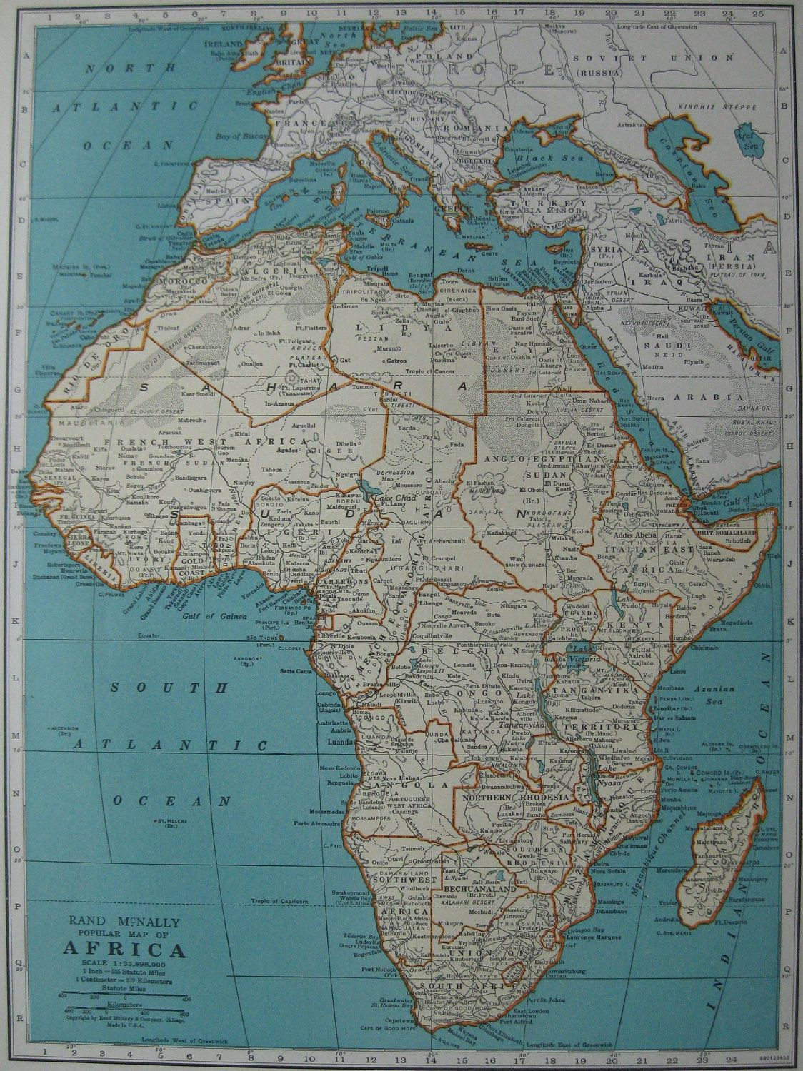1939 MAP of AFRICA Map Gallery Wall