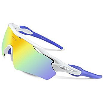 53ed6258d13 Duco POLARIZED Sports Sunglasses Cycling Glasses With 5 Interchangeable  Lenses 0028 (White)