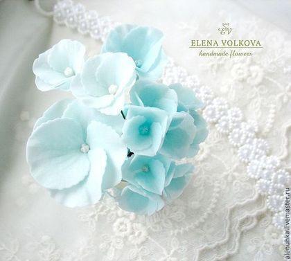 """Hechos a mano Decoración de las bodas.  Masters Feria - talones Hydrangea artesanales 3 uds.  """"Laguna Azul"""".  Hecho a mano."""