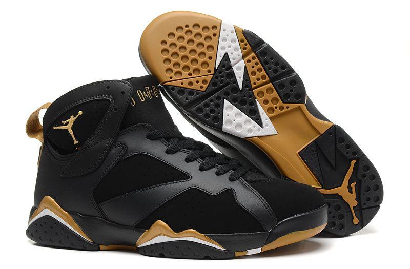 Nike Air Jordan Shoes Retro Jordan 7 Basketball Shoes Men And Women Shoes  Black Gold