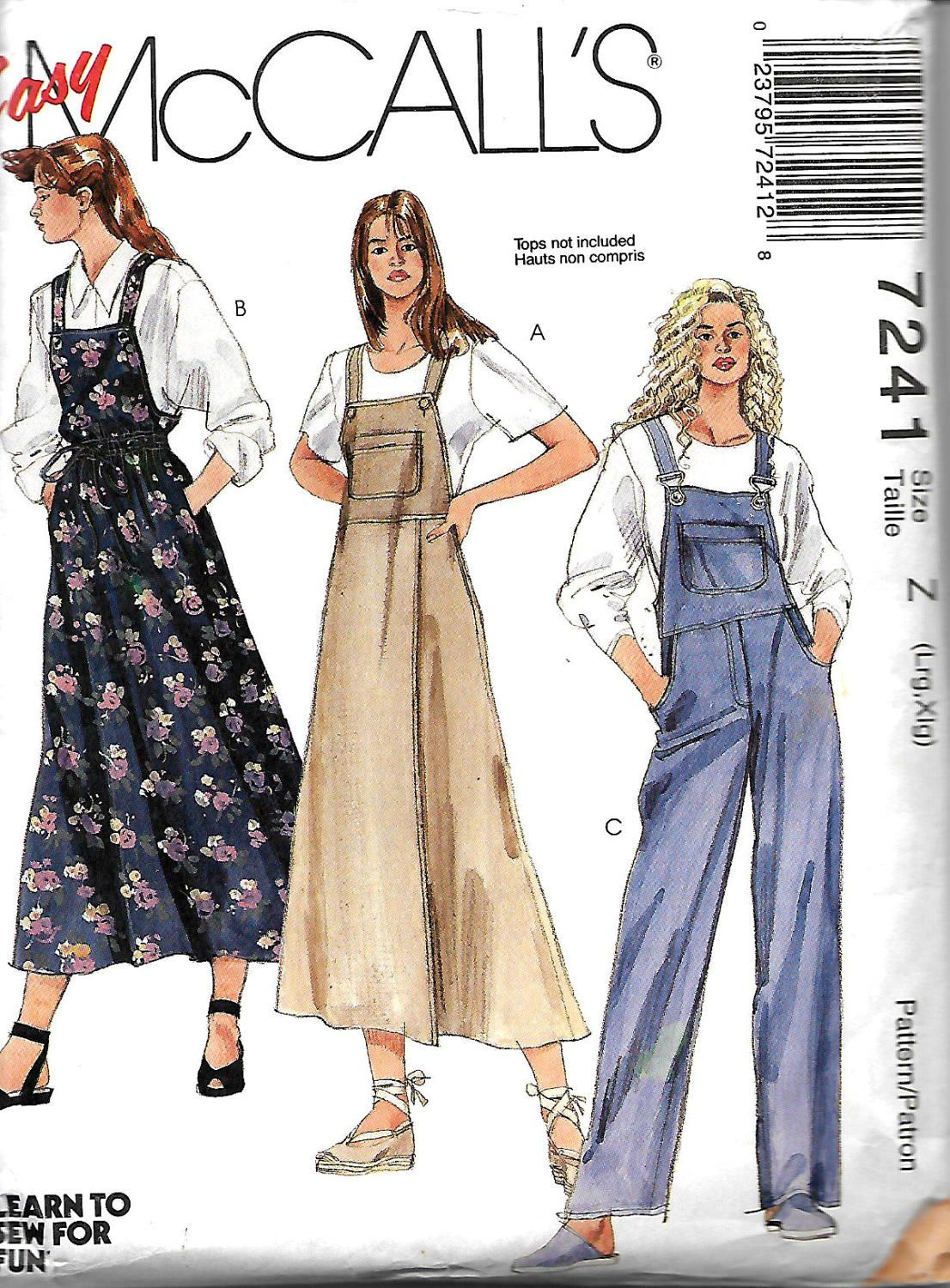 McCall\'s 7241 Misses Jumper And Overalls Sewing Pattern, L-XL UNCUT ...