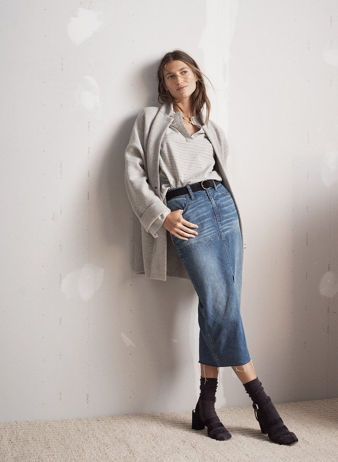 2b41196ad0 madewell blazer sweater-jacket worn with split-cuff tunic shirt ...