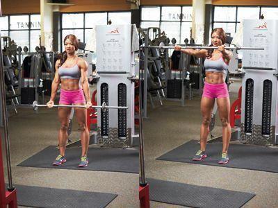 standing reversegrip barbell raise works front deltoids