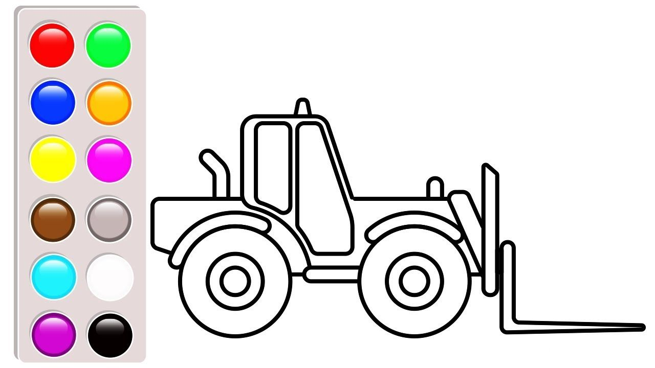 Small Truck Coloring Pages Forklift Coloring Book Video For