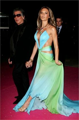 acc14a0a73 Victoria Beckham in gown by Roberto Cavalli with Roberto Cavalli ...