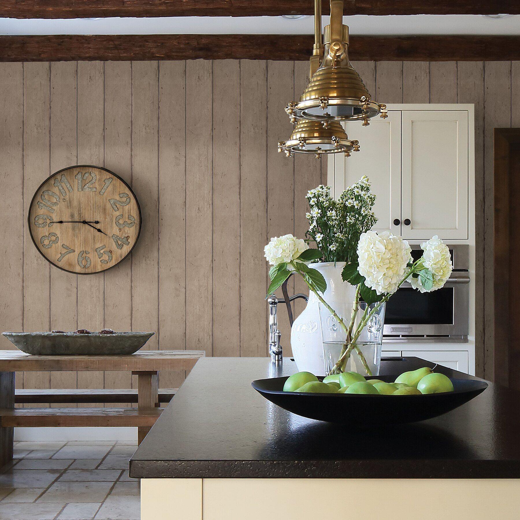 Teton wood plank light brown Stone wallpaper