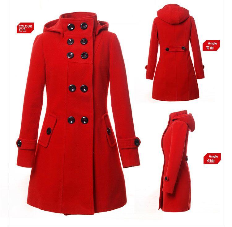 Women Double Breasted Long Coat Jacket Winter Trench Hoodie Hood ...