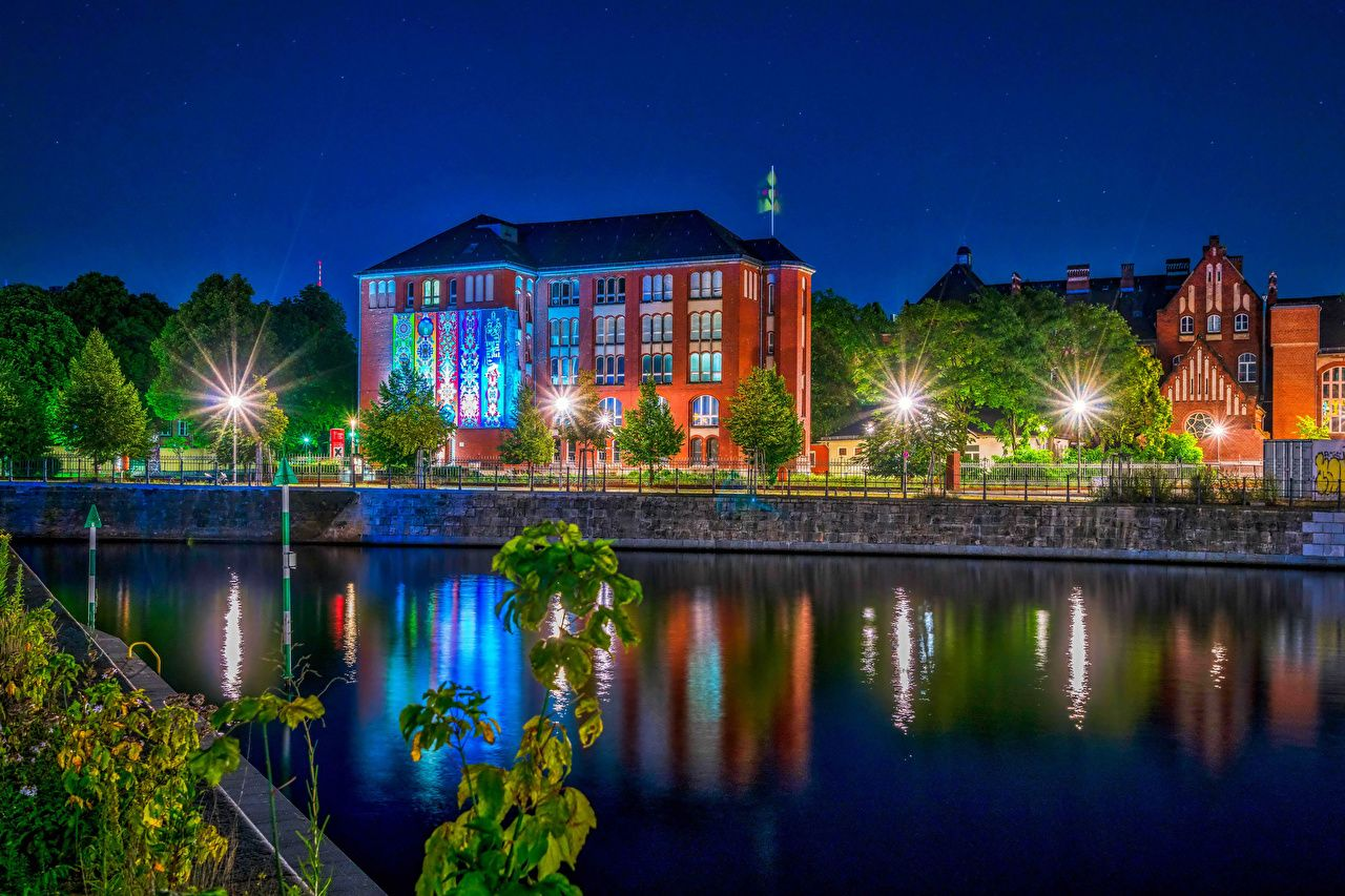 Обои германия, berlin, ночь, фонари, улица. Города foto 18
