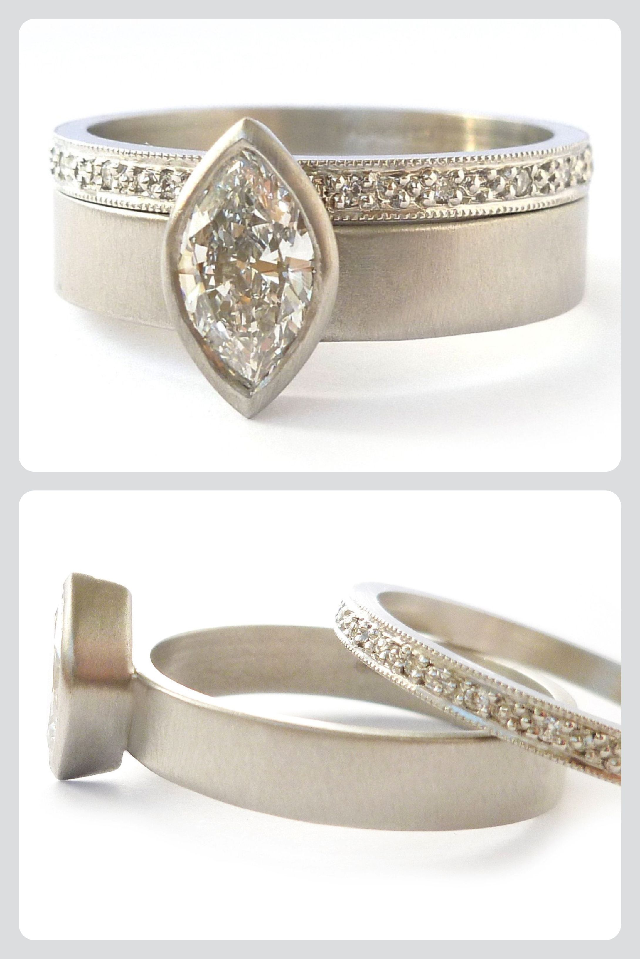 1670999c1 Unique platinum engagement ring, wedding ring, commitment ring, or simply a  bespoke dress ring! A set of two that stack together. Designed and handmade  by ...