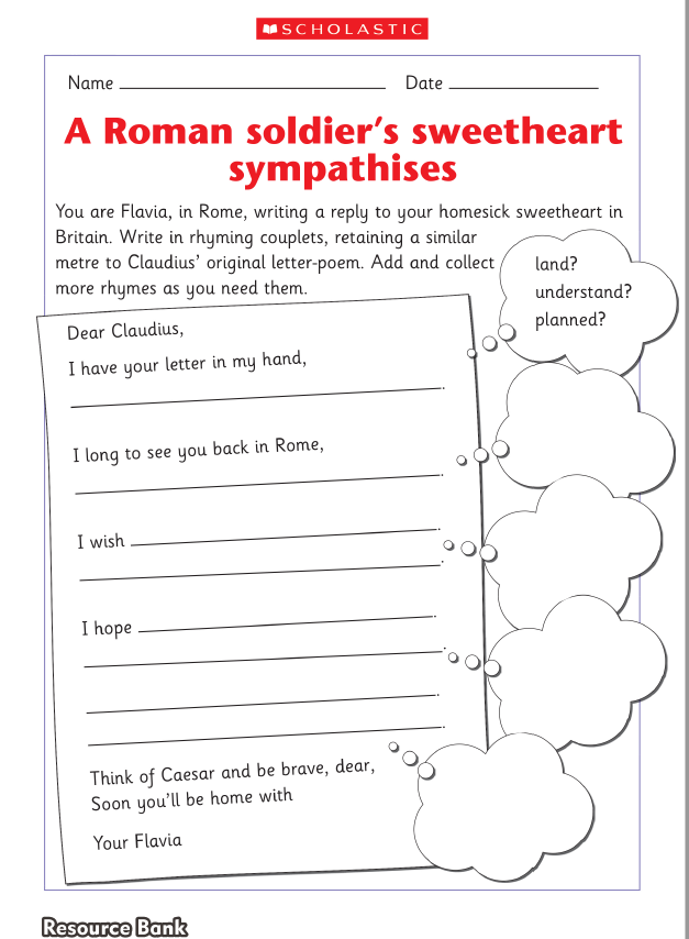 A worksheet activity in which children write a rhyming couplet from a worksheet activity in which children write a rhyming couplet from a roman soldiers sweetheart ages 7 to 9 years writing education writingresources ibookread Download