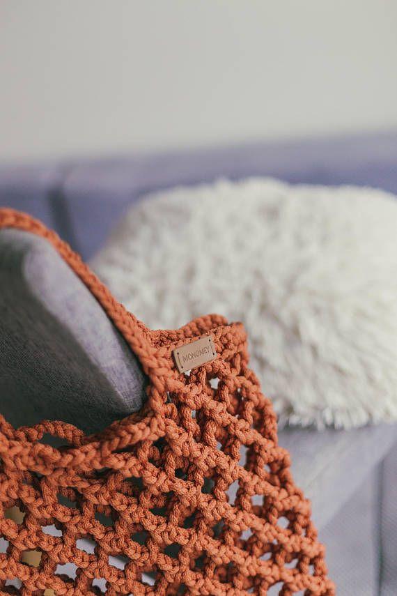 Hermosa Crochet Patrón De Asas De Mercado Adorno - Ideas de Patrón ...