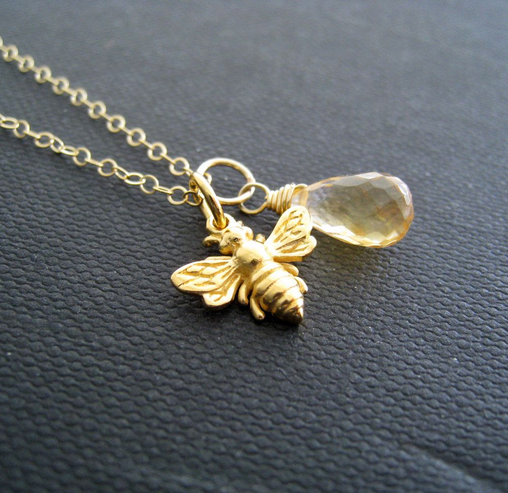 personalised and rose bee bumblebee charmed hummingbird plated jewellery gold necklace lily