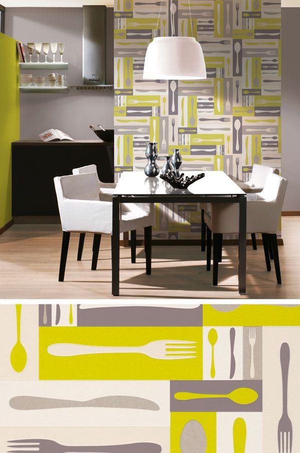 Trendige Vliestapete für die Küche Besteck in weiß grau grün mit