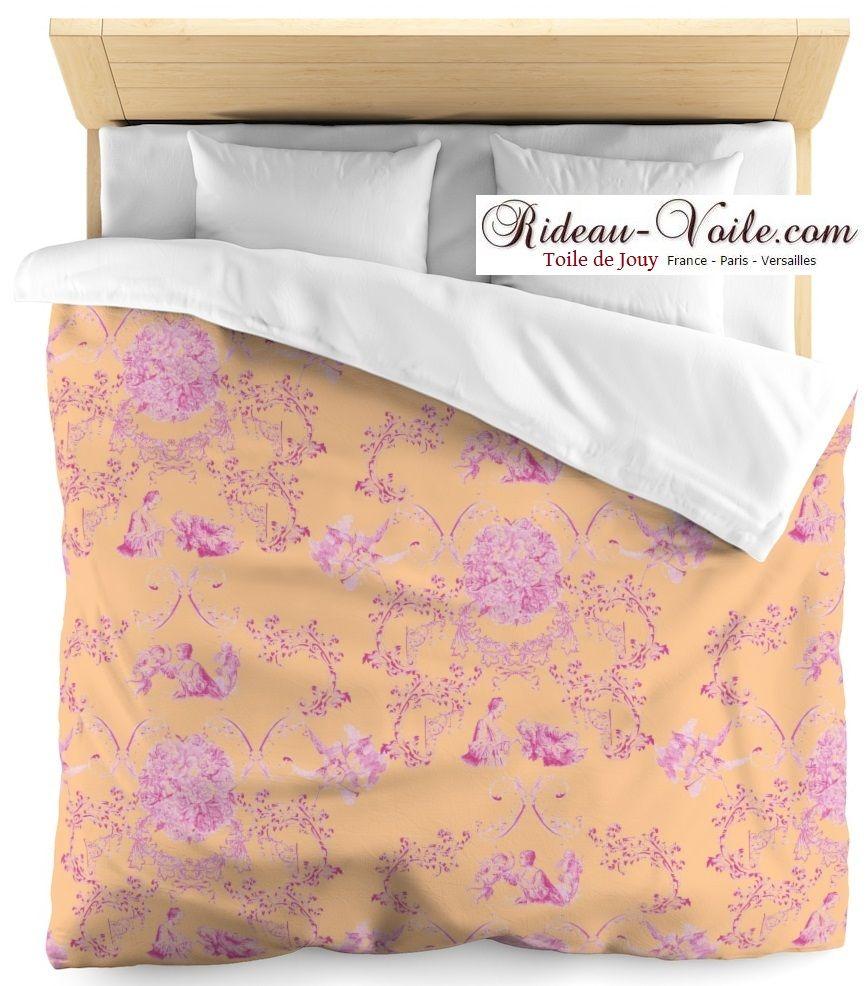 Collection Les Amoureuses Housse Couette Toile De Jouy   Edition Limitée    Fushia Rose Orange #