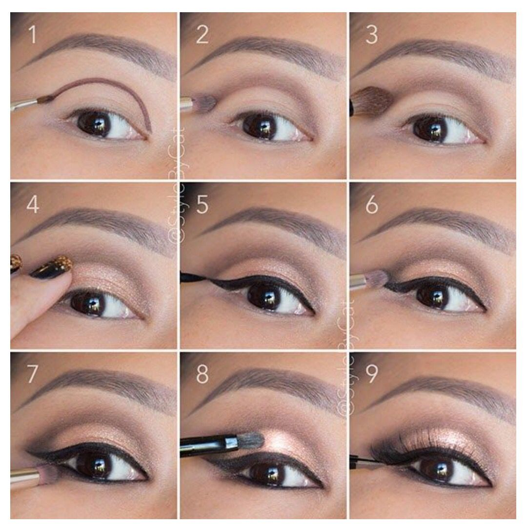Ojo tutorial sombra marrn dorado arco delinear lnea raya rabillo weddbook soft rose gold smokey eye makeup looks awesome good for hooded eyelids or monolids on asian eyes products and instructions in the link baditri Images