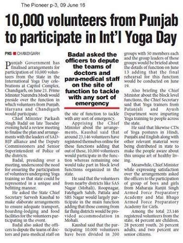 Arround 10K Volunteers to Take Part in Yoga Day. #WeSupportSAD #ShiromaniAkalidal