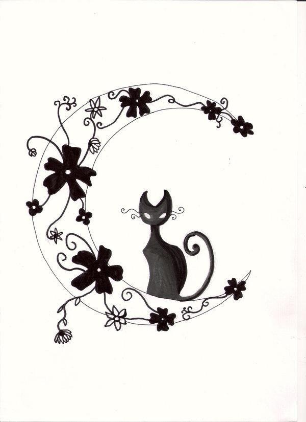 Chat fleurs et lune tattoo pinterest photo - Tatouage silhouette chat ...