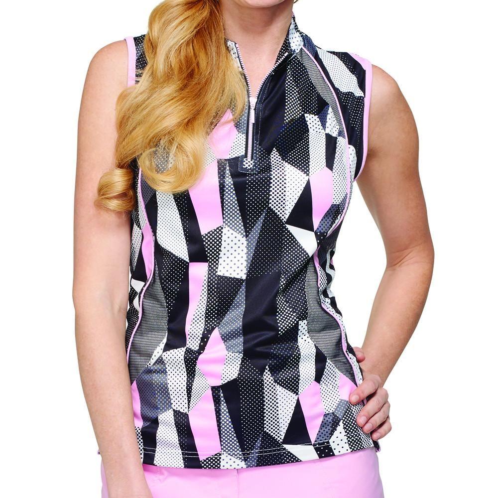 Gg Blue Black Dahlia Nora Sleeveless Polo Golf Outfits Women Womens Golf Fashion Golf Outfit