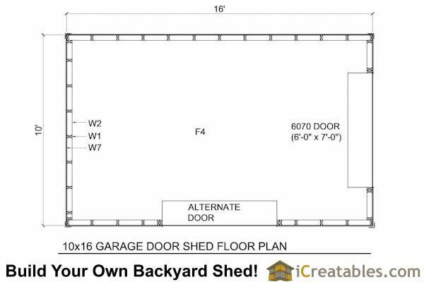 10x16 Shed With Garage Door Floor Plan Shed Plans Garage Doors Floor Plans