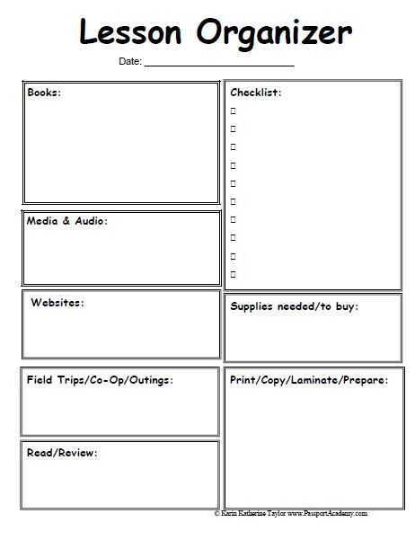 Lesson Organizer Prep Sheet Omg Where Have You Been All My Life - Lesson plan template for preschool teachers