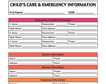 children emergency contact form