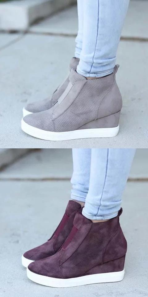 f5b6b7ee398  47.99 USD Sale! Free Shipping! Shop Now! Comfort Zipper Wedge Sneakers  Zipper Faux Suede Casual Sneakers  Sneakers