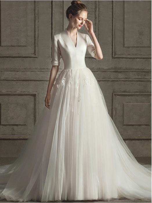 Custom Dresses Satin Wedding Dress New Bride Wedding Simple V Neck Half Sleeve Trim Drag Back Wedding Dress From Custom Bridal Gowns In 2020 Wedding Dresses Dresses Wedding Dress Long Sleeve