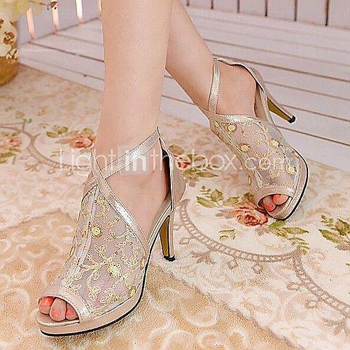 Zapatos de mujer - Tacón Stiletto - Tacones / Punta Abierta - Sandalias - Vestido / Fiesta y Noche - Semicuero - Negro / Plata / Oro - USD $33.94