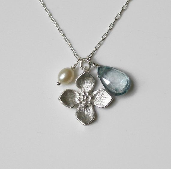 Choice of Stone Pearl Dogwood Flower Necklace  Charm by MariDesign, $60.00