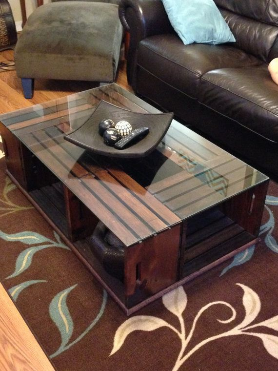 Wood Crate Coffee Table By Rusticcustomstore On Etsy With Images Wood Crate Coffee Table Crate Coffee Table Crate Coffee