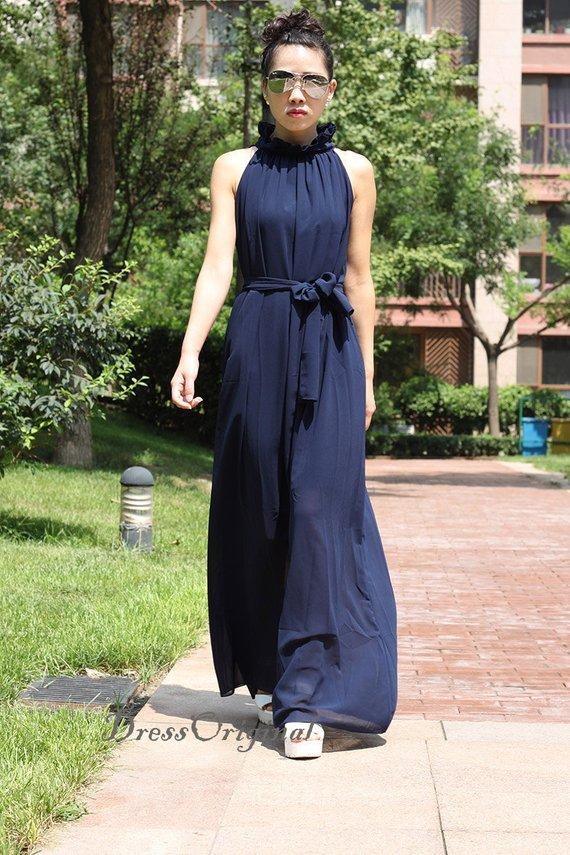Navy chiffon dress maxi dress long dress plus size dress ...
