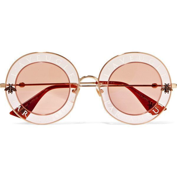 89e2ccb4432cc Gucci Round-frame printed acetate and gold-tone sunglasses ( 620) ❤ liked