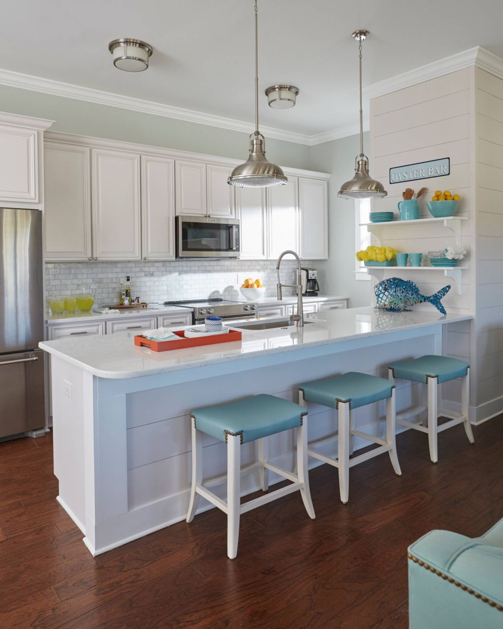 beach house kitchen with turquoise accents beach