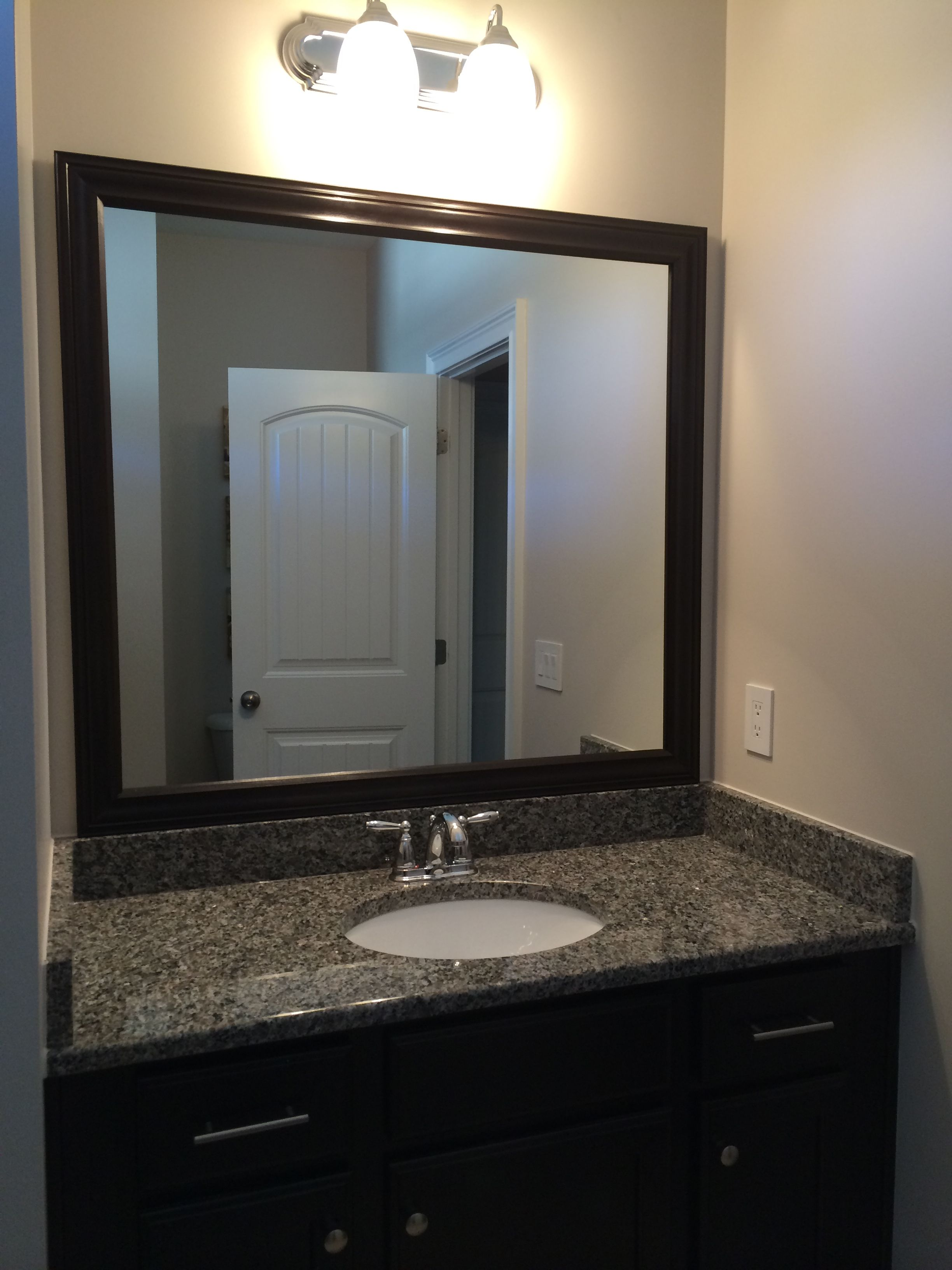 Diy Framed Mirror We Used Double Sided Tape To Mount Frame Existing Plate Gl Built The Using Wood Trim Chose Stain Our